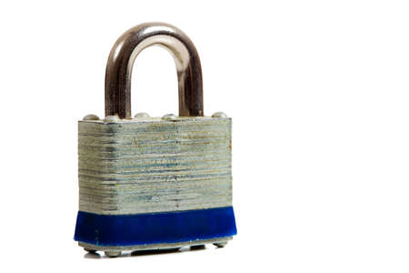 A padlock on a white background with copy space