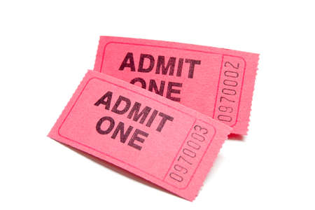 A stack of two admission tickets on a white background