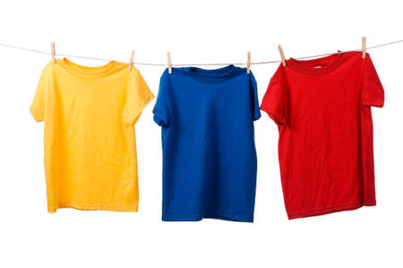 no shirt: Multi-color t-shirts on a clothesline Stock Photo