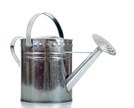 old items: A silver galvanized watering can on a white background