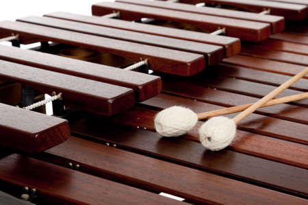 A percussion instrument the marimba with mallets