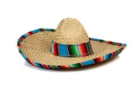 mariachi: Een kleurrijke Mexicaanse sombrero op een witte achtergrond met kopieer ruimte