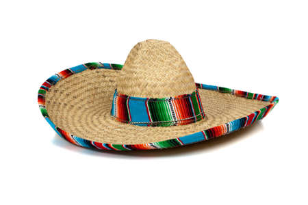 A colorful mexican sombrero on a white background with copy space