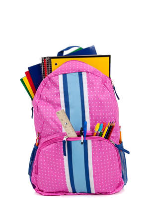bookbag: A pink backpack with school supplies on white background