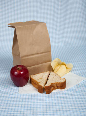 A students sack lunch with a peanut butter and jelly sandwich, potato chips and an apple photo