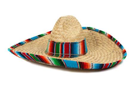 sombrero de charro: Un sombrero mexicano de colores sobre fondo blanco, con copia espacio