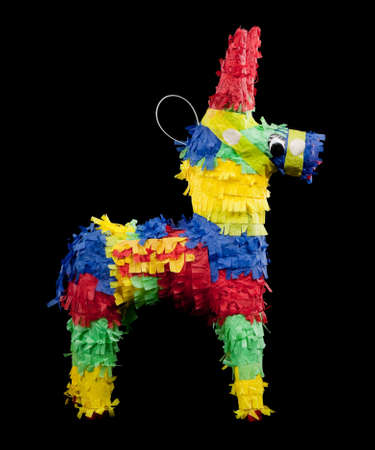 objects: mexican pinata on a black background
