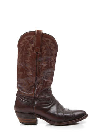 leather boots: Brown leather cowboy boots on a white background Stock Photo