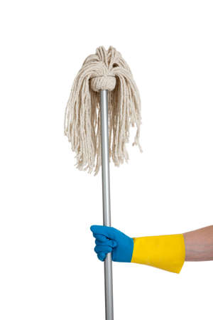 A mop held by a rubber gloved hand with a white background photo