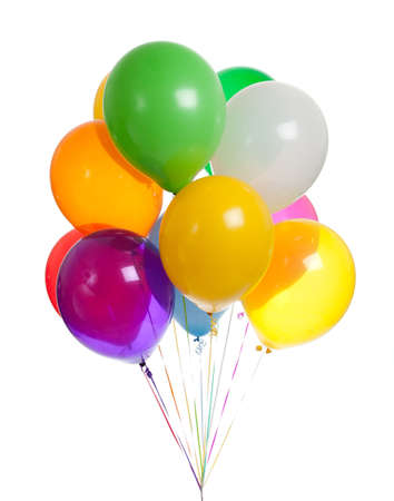 party balloon: Assorted colored balloons on a white background Stock Photo