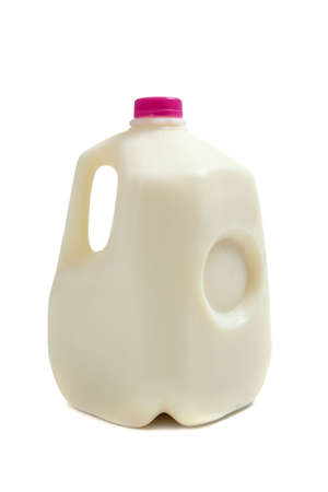 jugs: a gallon jug of milk on a white background