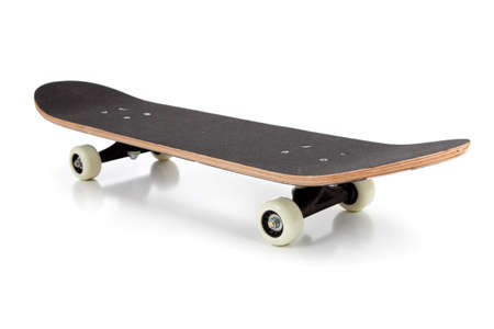 A black skate board on a white background Stock Photo