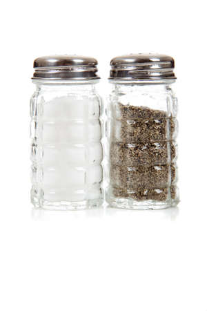 A crystal salt and pepper shaker set on a white background Stock Photo - 5723425