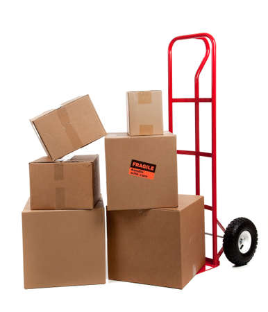 hand truck: Moving boxes with fragile sticker on a white background