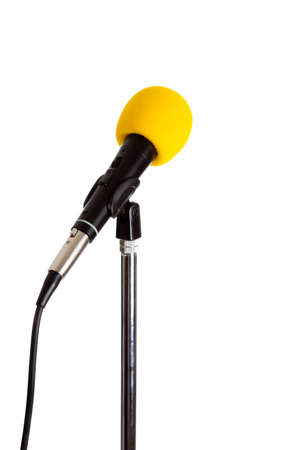 vocals: Microphone on a stand with a yellow cover on a white background
