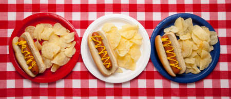 Several hotdogs on colored plates on a gingham background Stock Photo - 5736242
