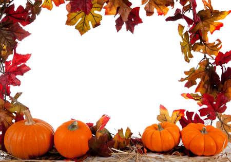toppa: Dimensioni bordo di assortito di zucca con fieno su uno sfondo bianco con foglie di autunno Archivio Fotografico