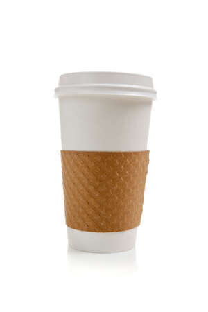 holder: A disposable coffee cup on a white background Stock Photo