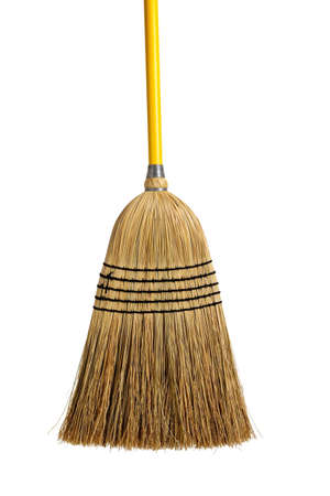 handled: Yellow handled broom on a white background Stock Photo