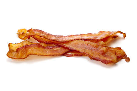 smoked bacon: Slices of bacon on a white background Stock Photo