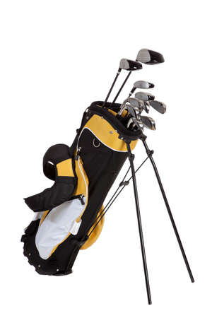 equipment: golf clubs and bag on a white background