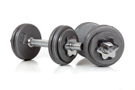 lon: A set of dumbells lon a white background