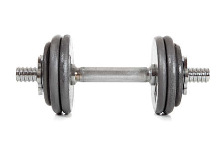 A single dumbell on a white background Stock Photo