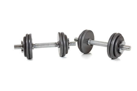 A set of dumbells on a white background Stock Photo - 5766130
