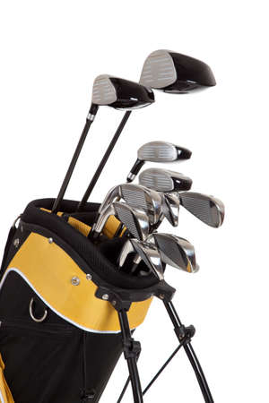golf equipment: golf clubs and bag on a white background