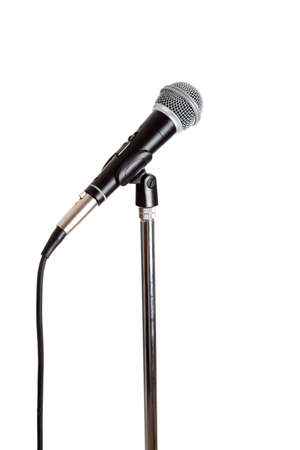 amplification: Stainless steel Microphone on a stand on a white background