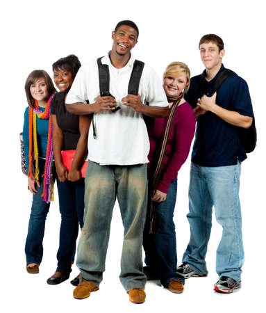 college: A group of happy multi-racial college students holding backpacks on a white background Stock Photo