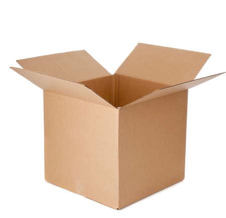 storage box: Open empty corrugated brown cardboard box on a white background