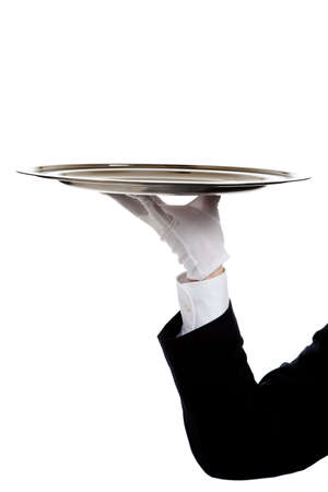 concierge: a butlers gloved hand holding a silver tray on a white background with copy space