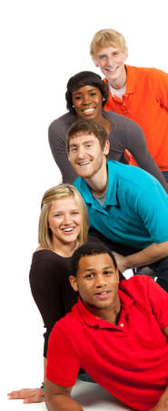 A group of happy multi-racial college students on a white background Stock Photo - 5840447