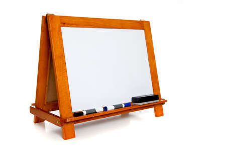 Wooden trimmed wipe board with markers including blue and black with an eraser on a white background with copy space Stock Photo - 5876319