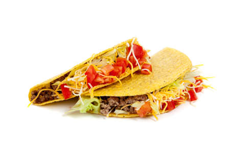 tacos: Two tacos on a white background with tomatoes, beef, lettuce and cheese