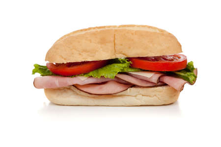 A ham submarine sandwich with lettuce, tomato and swiss cheese on a white background Stock Photo - 5876306