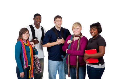 A group of happy multi-racial college students holding backpacks on a white background Stock Photo - 5876326