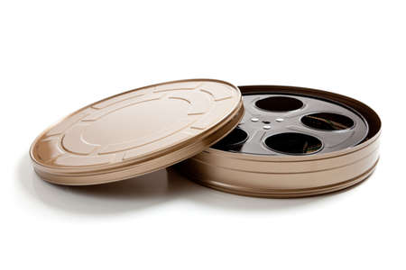 film reel: a Gold movie film canister on a white background