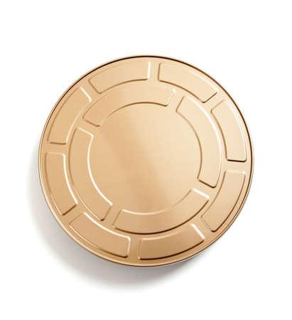 movie pelicula: una bombona de pel�cula de pel�cula de oro sobre un fondo blanco  Foto de archivo