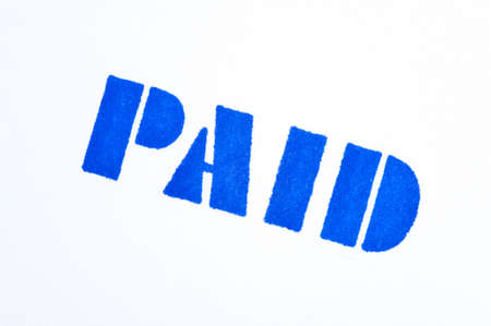 paid stamp: Blue paid stamp on a white background