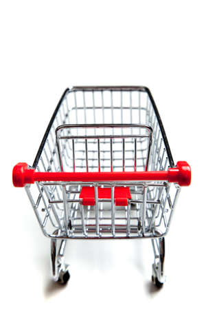 Red, metal supermarket shopping cart on a white background Stock Photo - 5919949
