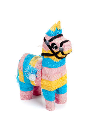pinata: A pink, blue and yellow burro pinata on a white background Stock Photo