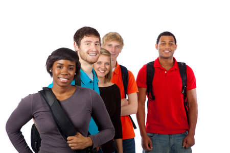 group of teenagers: Diverse group of college students including men, women, caucasian and african american Stock Photo