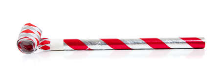 noise maker: Red and silver noise makers on a white background Stock Photo