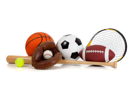 Assorted sports equipment including a basketball, soccer ball, tennis ball, baseball, bat, tennis racket, football and baseball glove on a white background Imagens
