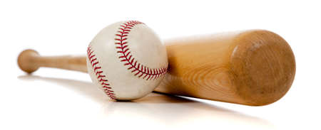 A baseball and wooden bat on a white background Stock Photo - 5982982