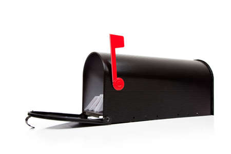 An open black mailbox wtih letters on a white background Stock Photo - 5983038