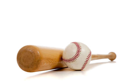 baseball ball: A baseball and wooden bat on a white background with copy space Stock Photo