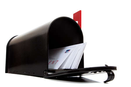 An open black mailbox wtih letters on a white background Stock Photo - 5983203